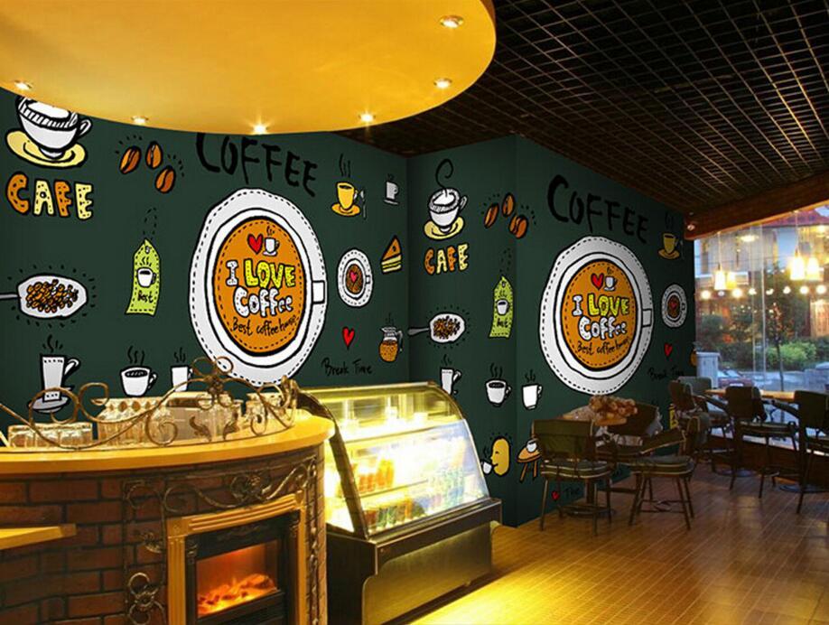Custom retro wallpaperCoffee icon3D cartoon murals for