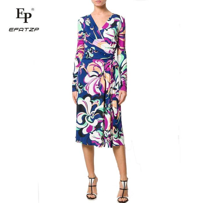New 2018 Autumn Fashion Designer Dress Women s Long Sleeves V Neck Stunning Print XXL Stretch