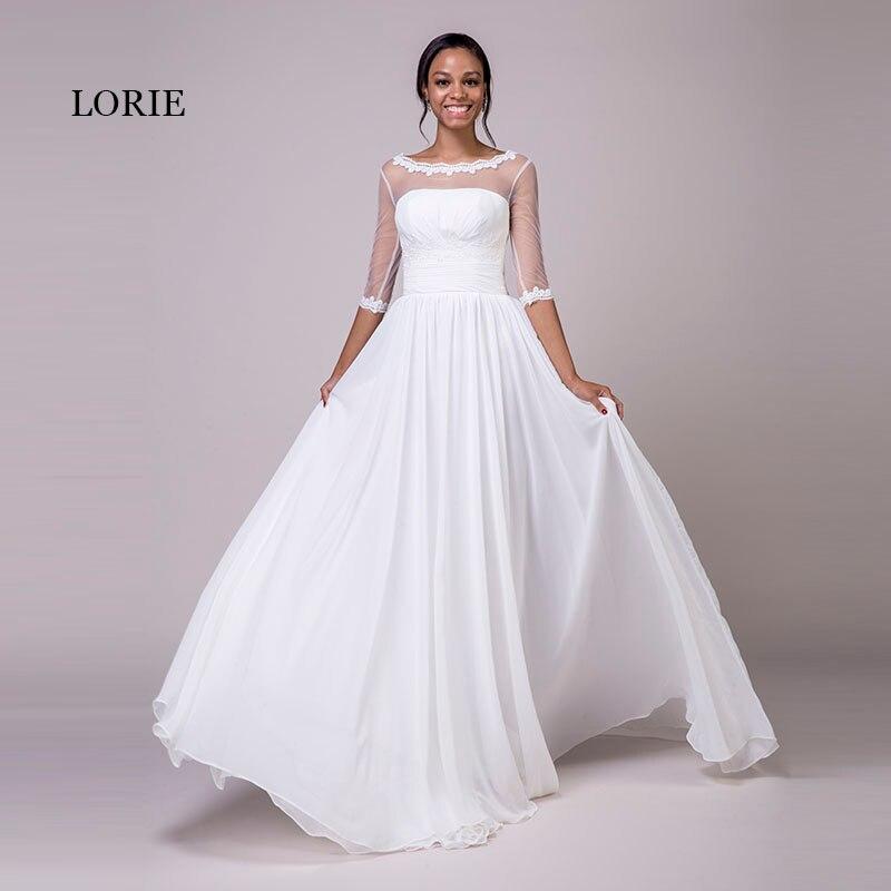 LORIE Brautkleider mit Ärmeln Scoop A-linie Appliques Chiffon-Echt ...