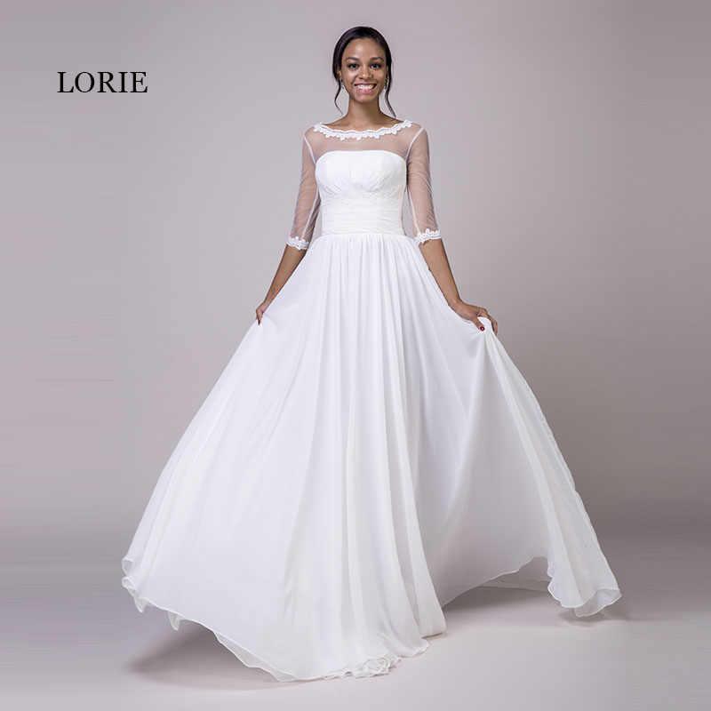 LORIE Vestidos Casamento com Mangas Colher A Linha de Apliques Chiffon Real Barato Princesa Vestido de Noiva Lace up Sem Costas Vestido de Casamento