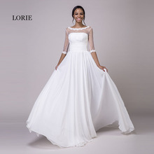 LORIE Wedding Dresses with Sleeves Scoop A-Line Appliques Chiffon Real Cheap Princess Bride Dress Lace up Backless Wedding Gown