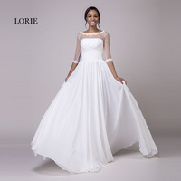 LORIE Wedding Dresses with Sleeves Scoop A Line Appliques Chiffon Real Cheap Princess Bride Dress Lace up Backless Wedding Gown