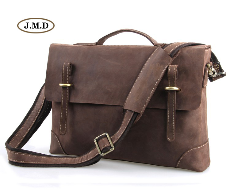 J.M.D Genuine Leather Men's Classic Dark Brown Business Briefcases Laptop Handbag Shoulder Bag Messenger Bag 7228R 247 classic leather