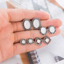 4Pairs/Set White Opal Stone Stud Earrings Vintage Hollow Alloy Earring Set For Women Party Statement Jewelry Boucle Doreille