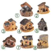 1PCS Miniature Gardening Landscape Micro Village Stone Houses Thumbnail House Thatched Huts For Garden Decor Random Color(China)