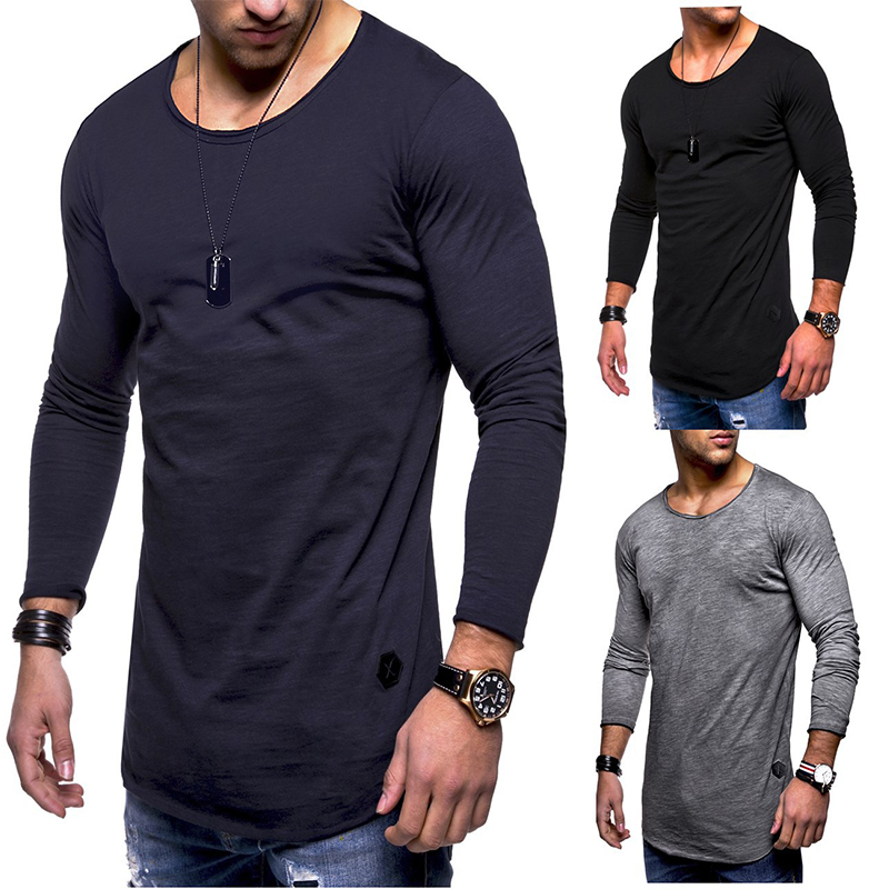 2018 autumn and winter new fashion men's long-sleeved   T  -  shirt   round neck casual men's solid color cotton   T  -  shirt     shirt