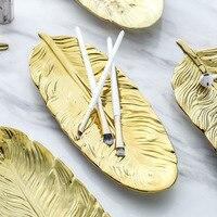 Керамические украшения в форме золотых перьев, тарелка, фарфоровая конфета, брелок для еды, фруктов, поднос, кольцо, тарелка для хранения, дл...