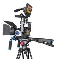 DSLR Rig Video Stabilizer Kit Film Equipment Matte Box+Dslr Cage+Shoulder Mount Rig+Follow Focus for DSLR Camera Camcorder