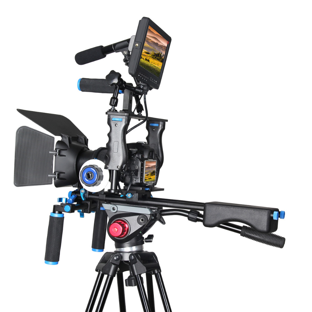 DSLR Rig Video Stabilizer Kit Film Equipment Matte Box+Dslr Cage+Shoulder Mount Rig+Follow Focus for DSLR Camera Camcorder