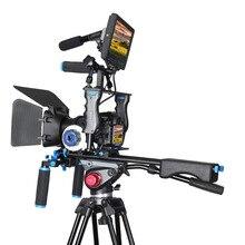 Estabilizador De Vídeo DSLR Rig Kit Equipos De Cine Mate Box + Jaula + Shoulder Mount Rig + Sigue el Foco Dslr para DSLR Cámara Videocámara