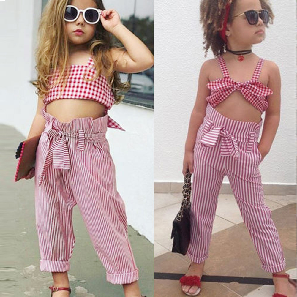 Toddler Kids Baby Girls Sleeveless Plaid Tops+ Striped Pants Outfit Set CZ21