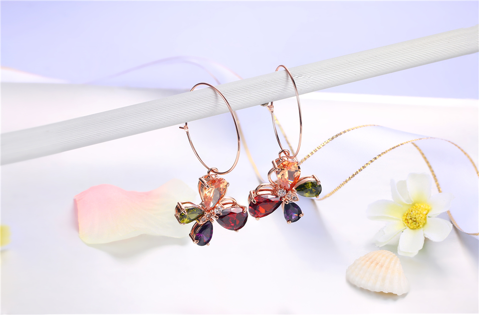 f PISSENLIT Clover Shape Drop Earrings Colorful Rhinestone Earrings Women Jewelry 2019 New Fashion Grace Summer Jewelry For Beach