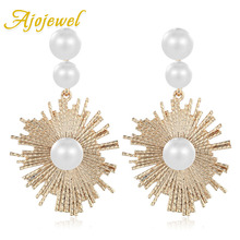 Ajojewel Simulated Pearl Womens Golden Sun Earrings Exaggerated Pendientes Jewelry Party Bijoux Accessories
