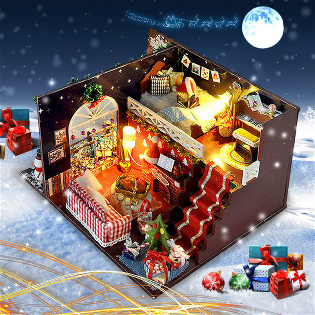Miniature Christmas Carnival Night Dollhouse DIY Wooden Dolls House With LED Light Furniture Kits DIY Gift Toys For Children