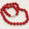 10mm artificial coral red stone jasper beads necklace for women fashion statement chain choker clavicle diy jewelry 18inch B3212