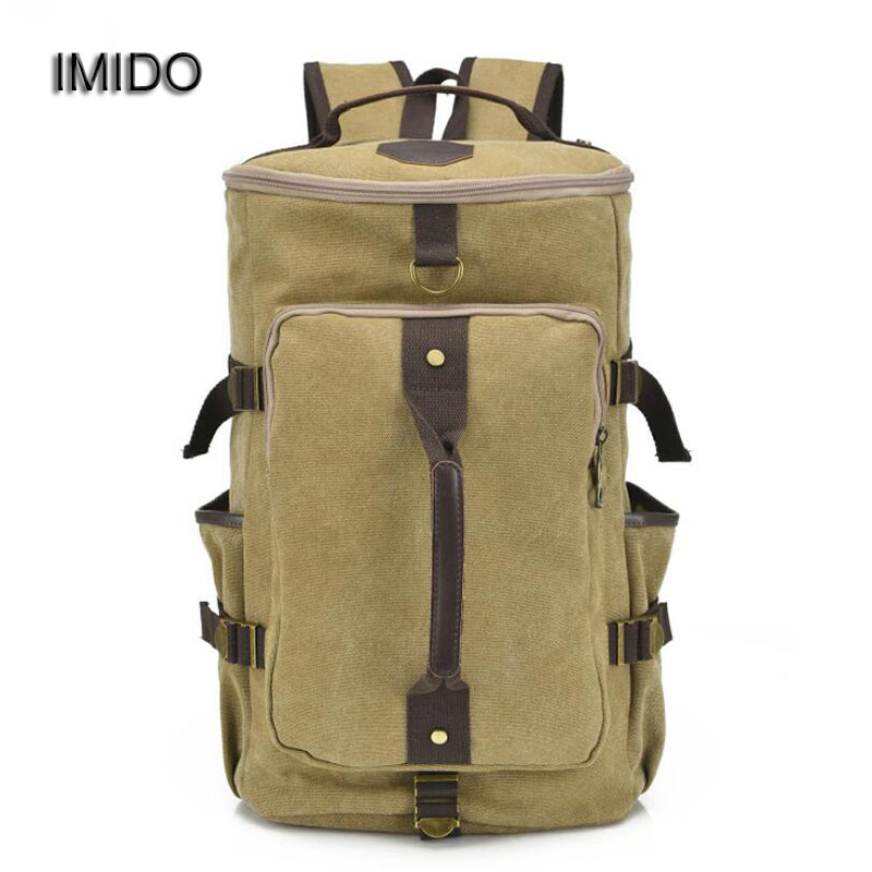 IMIDO Brand Canvas Travel Large Capacity Backpack Men Shoulder Bags for Male School Backbag Rucksack Black Green Coffee SLD026