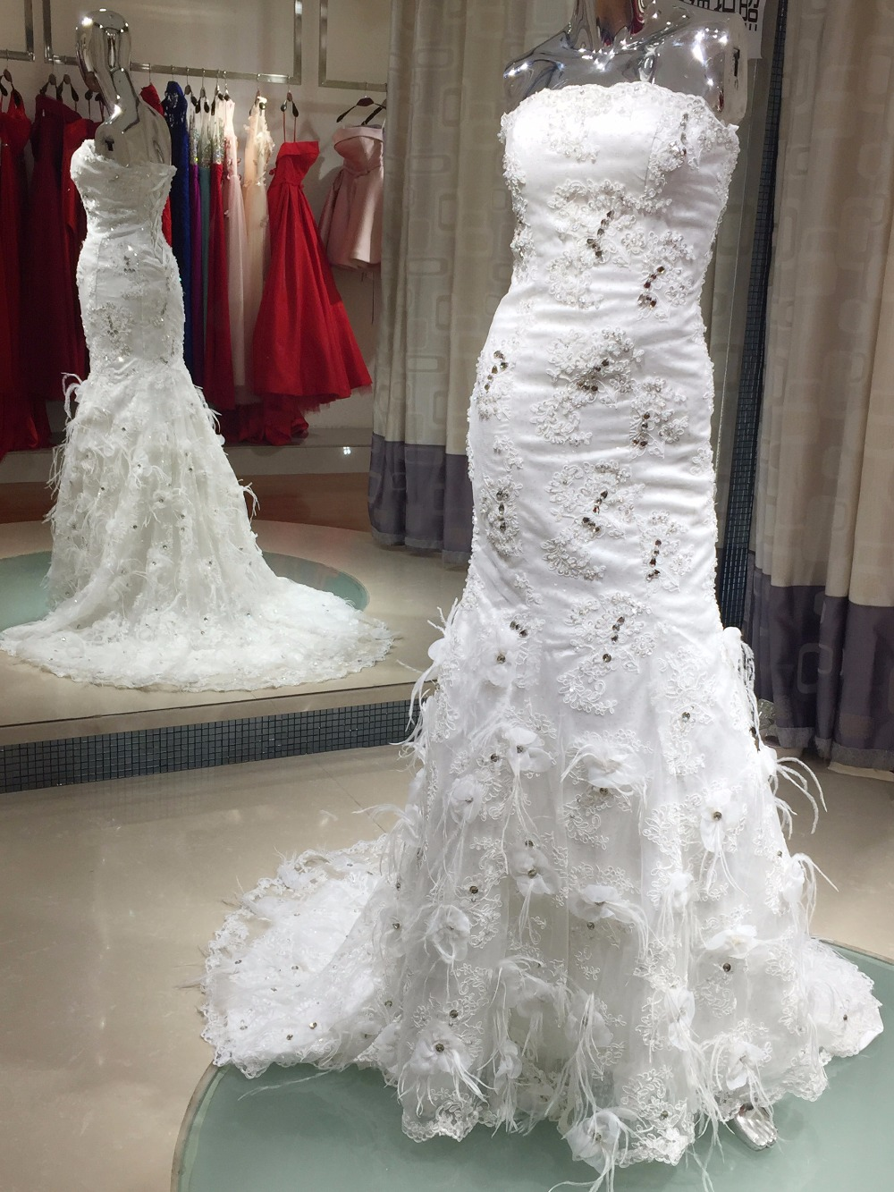 elegant mermaid wedding gown real made lace up back with feathers vestido branco strapless turkey wedding dresses made in china