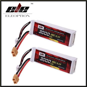 Eleoption 2 pcs 3000mAh 11.1V Lipo Li-Po Battery 25C XT60 Plug for DJI Phantom 1 FC40 F45 F550