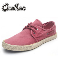 OUDINIAO Mens Shoes Casual Male Breathable Canvas Spring Boat Shoes Men Fashion Soft Lace Up Espadrilles For Men Hemp Rubber