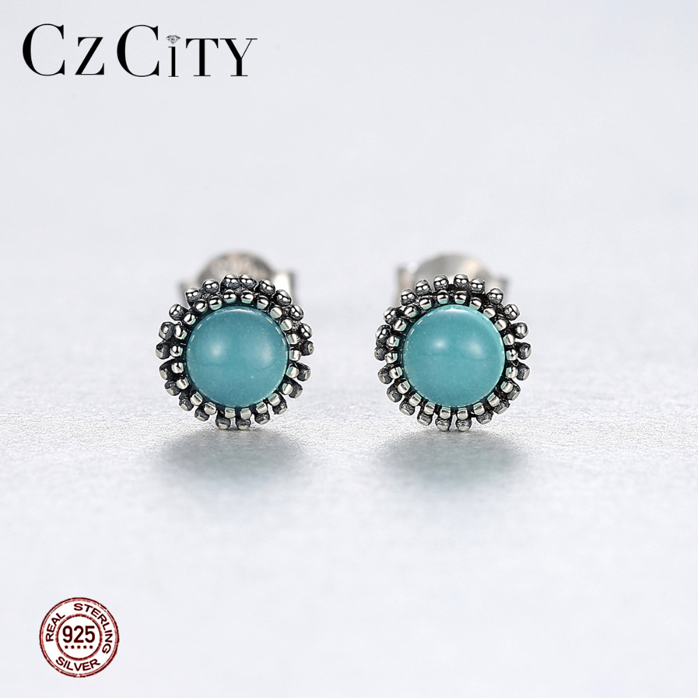 Turquoise gemstone stud earrings 925 Solid Silver Fine Jewelry