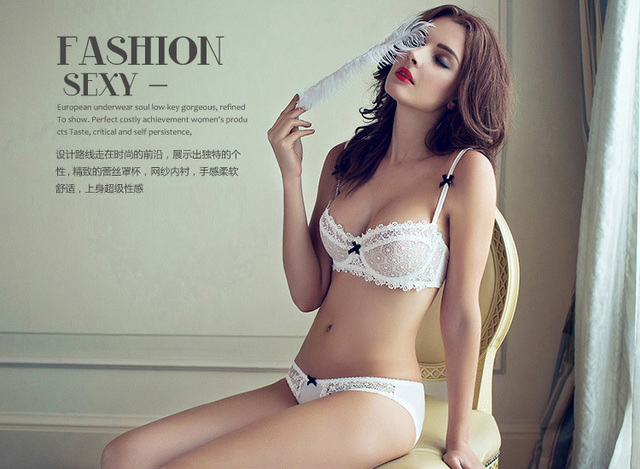 6f815736bb0 Sexy Lingerie Set Hot Ultra Thin Transparent Floral Embroidery Bra Set Deep  V Women s Underwear Underwire Fancy 1 2 Cup White