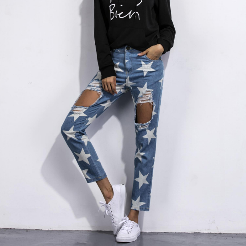 6768dabaae Fashion Nova Jeans For Women Holes In Jeans Loose Star Extreme Cut Out  Jeans star print Straight Big Hole Boyfriend Jeans Baggy
