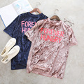 Tee Camiseta Femme Mulheres Rosa Lette Impresso Veludo Tshirt tumblr tee top 2017 marca de moda ladies ulzzang coreano tops Blusa