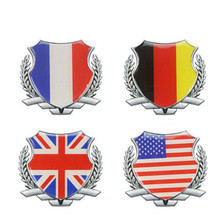 3D Metal Germany Italy France England United States Flag Auto Car Door Window Chrome Emblem Badge Body Decal Motorcycle Sticker