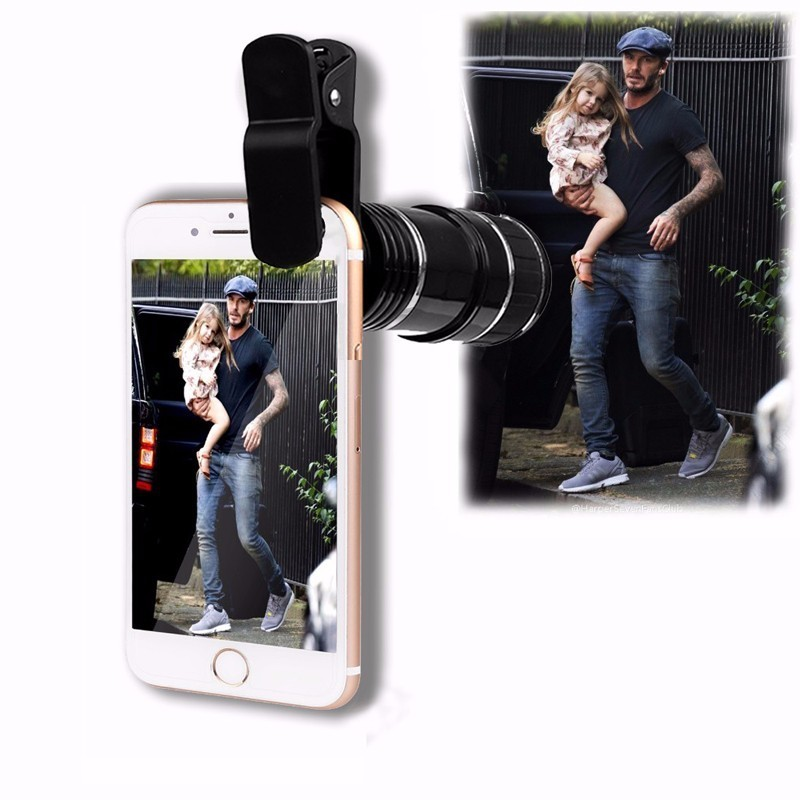 Phone Lenses 12X Optical Zoom Lenses Mobile Phone Telescope Telephoto Lens For iPhone 4 5C 5 6 6s 7 Plus With Clips Phone Lents