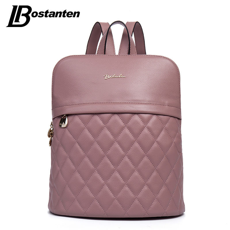 BOSTANTEN Plaid Brand Genuine Leather Women Backpack Casual School Bags For Teenagers Girls High Quality Female Travel Back Pack zhierna brand women bow backpacks pu leather backpack travel casual bags high quality girls school bag for teenagers