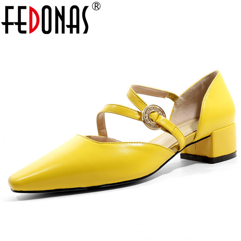 FEDONAS Fashion Sexy Women Summer Sandals Med Heels Genuine Leather Mary Jane Prom Pumps Quality Party