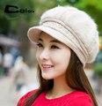 Mujer de invierno gorros de punto del conejo del sombrero de calabaza sombreros moda casual mujer boina casquillo desgastado perla decoración envío gratis