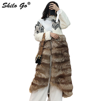SHILO GO Fur Coat Womens Autumn Fashion whole real Mink Fur long coat V Neck Bohemian shoulder spliced fox Fur skirt coat