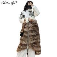 SHILO GO Fur Coat Womens Autumn Fashion whole real Mink Fur long coat V Neck Bohemian shoulder spliced fox Fur skirt coat