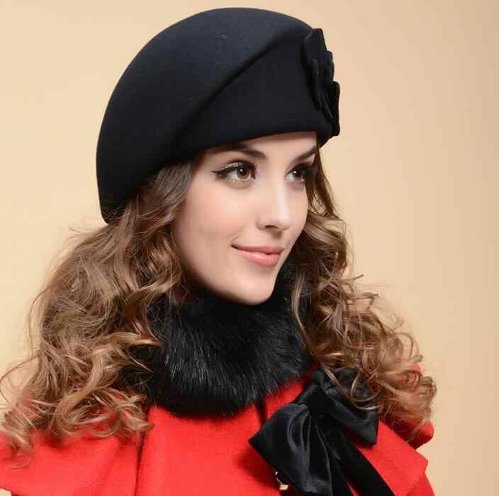... 100% wool beret winter berets women winter felt beret Floral Women Felt  French Beret Beanie 5c327719418f