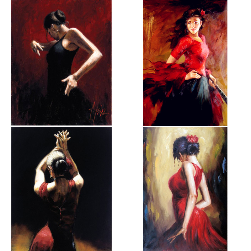 Handmade Oil Paintings Lady Spanish Flamenco Dancer Figure