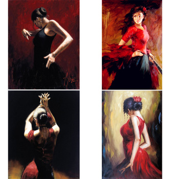 Handmade oil paintings lady Spanish flamenco dancer figure art on canvas modern  woman painting for living room wall decor