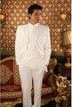 Branco Mais Recente Projeto Feito Sob Encomenda Do Noivo Smoking Dos Homens Ternos Para Casamento Para Os Homens Ternos de Casamento dos homens Padrinhos (Jaqueta + calça + colete + Gravata)