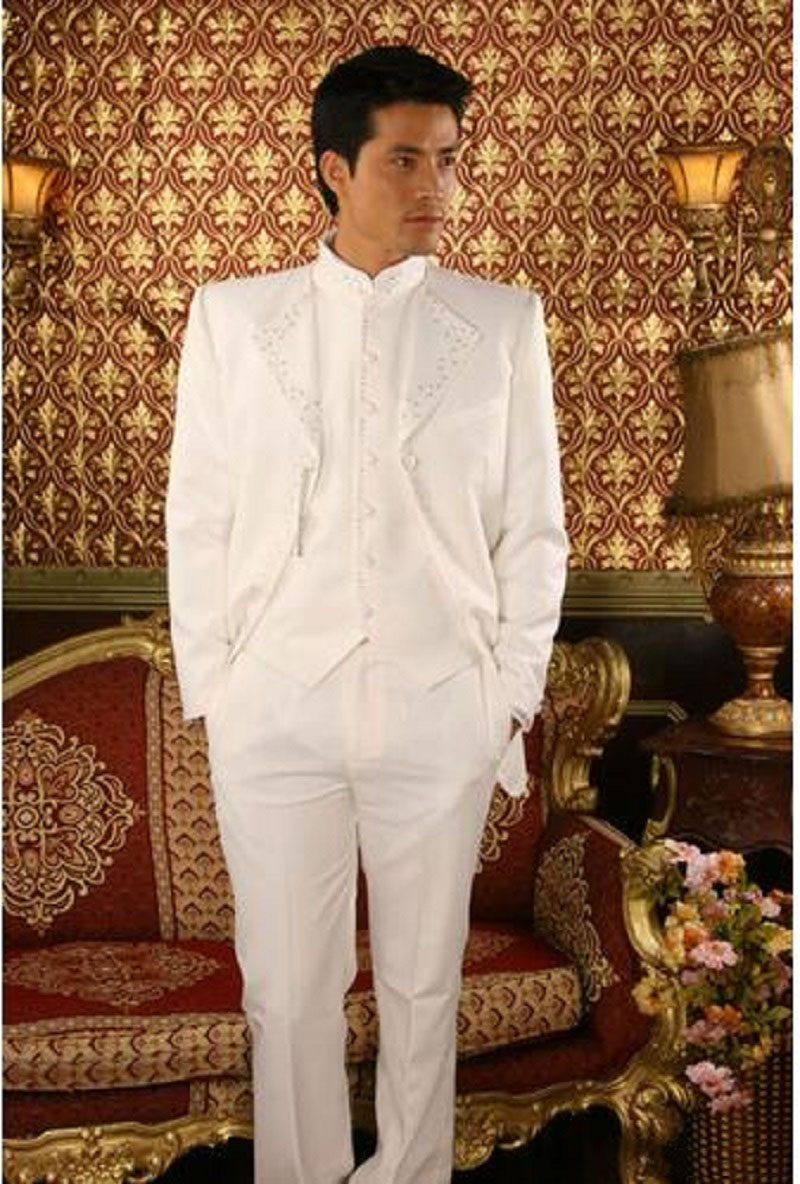 White Latest Design Custom Made Men Suits For Wedding Groom ...