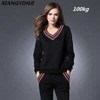 Oversized Racksuits Women Suits 2018 New Autumn Winter Black Two Piece Sets Sweatshirt Long Pants Casual