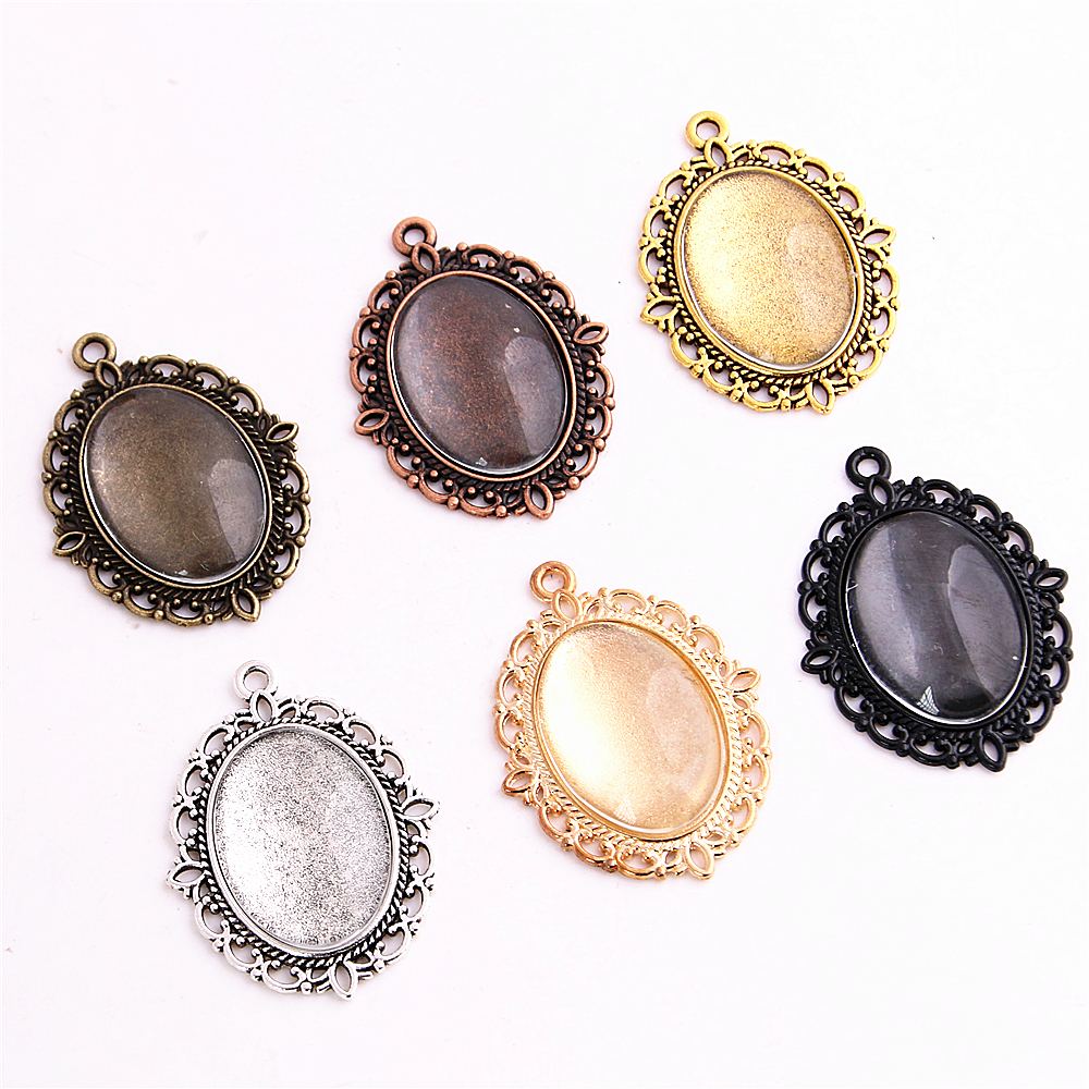 SWEET BELL 12set Fit 18*25mm Seven Color Oval Cabochons Bases Jewelry Settings Pendant Bezel Trays+Clear Glass Cabochons 6C1046