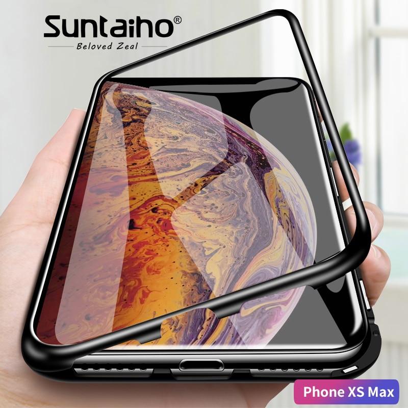 Suntaiho adsorbimento magnetico cassa Del Telefono per il iphone XS Max XR 8 X di caso Magnetico di Vetro Temperato di Caso per il iphone XS MAX X 7 6 PIÙ