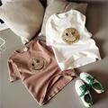 2017 Women T-shirt Summer Korean Fashion Smiley Face Sequined Casual T-shirt O-neck Short Sleeve Blusa Tops Cropped Feminino