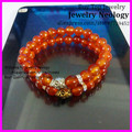 10pcs Newest Fantastic Design Nature Carnelian Red Agate Beads Bracelet With Gold Silver Skull Man Stretch Bracelet For Gift