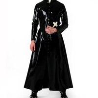 0,6 мм Толщина латекса ветровка латексная длинная куртка латексная резина мужской костюм