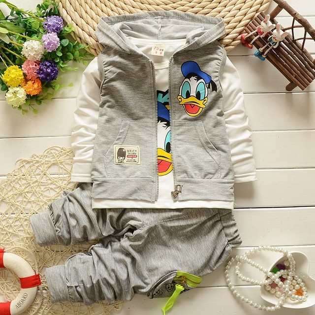 2016 Children Spring Autumn Fashion Cartoon Kids Casual Vest Coat Jacket T-shirt Pants 3 Pcs Sport Style Boys Clothing Sets