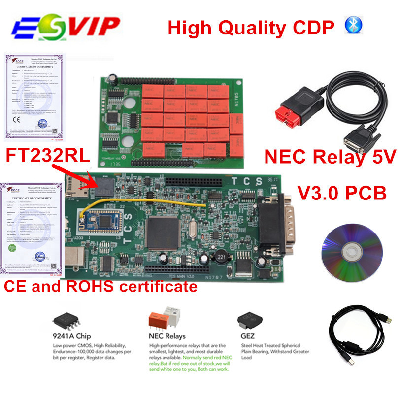 50pcs/Lot TCS cdp pro 2016.00 Bluetooth Green Board V3.0 2015.R3 keygen as Multidiag pro MVD OBD2 cars trucks diagnostic tool