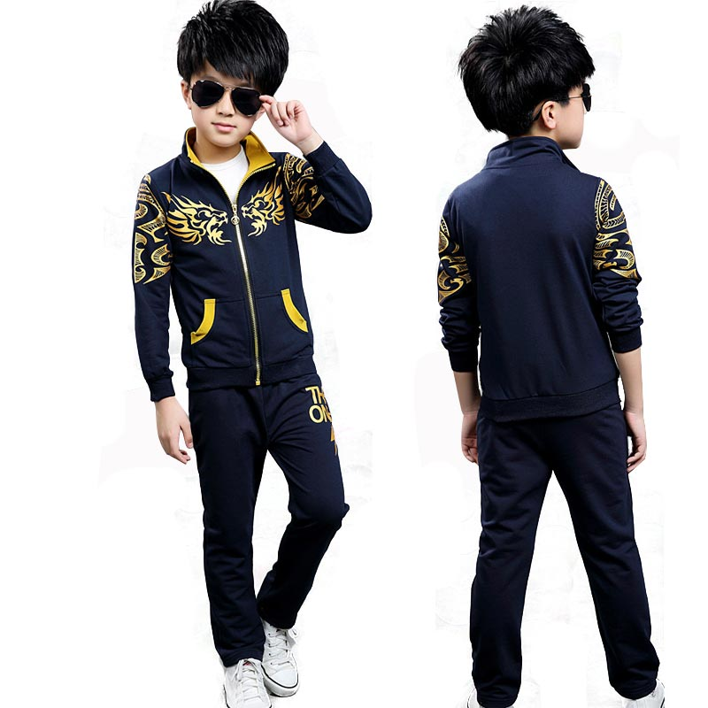 Long Sleeves 2Pcs Kids Sport Suits Spring Teens Tracksuit for Boys Clothes 2018 Children Clothing Set Zipper Sweatshirt Boy Sets