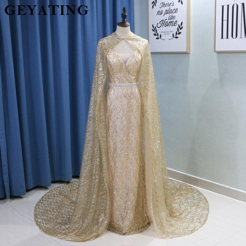 46d0fc88560 Glitter Sequin Gold Mermaid Long Arabic Evening Dress with Cape Abaya  Kaftan Dubai Formal Prom Dresses