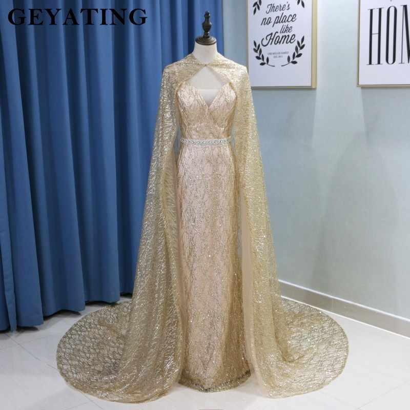 451cc81a Glitter Sequin Gold Mermaid Long Arabic Evening Dress with Cape Abaya  Kaftan Dubai Formal Prom Dresses